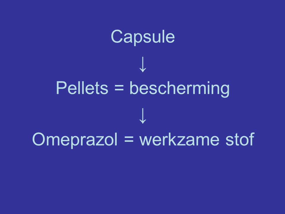 Omeprazol = werkzame stof