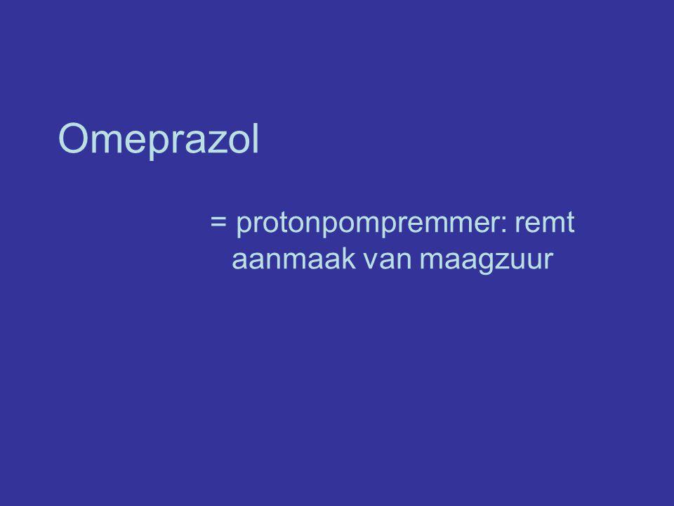 = protonpompremmer: remt aanmaak van maagzuur