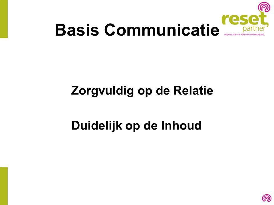 Basis Communicatie Zorgvuldig op de Relatie Duidelijk op de Inhoud