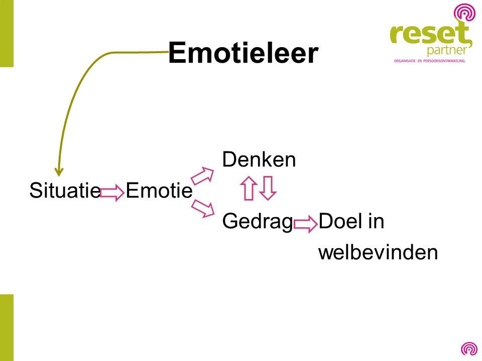 Emotieleer Denken Situatie Emotie Gedrag Doel in welbevinden