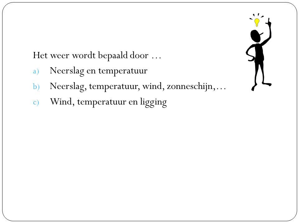 Het weer wordt bepaald door …