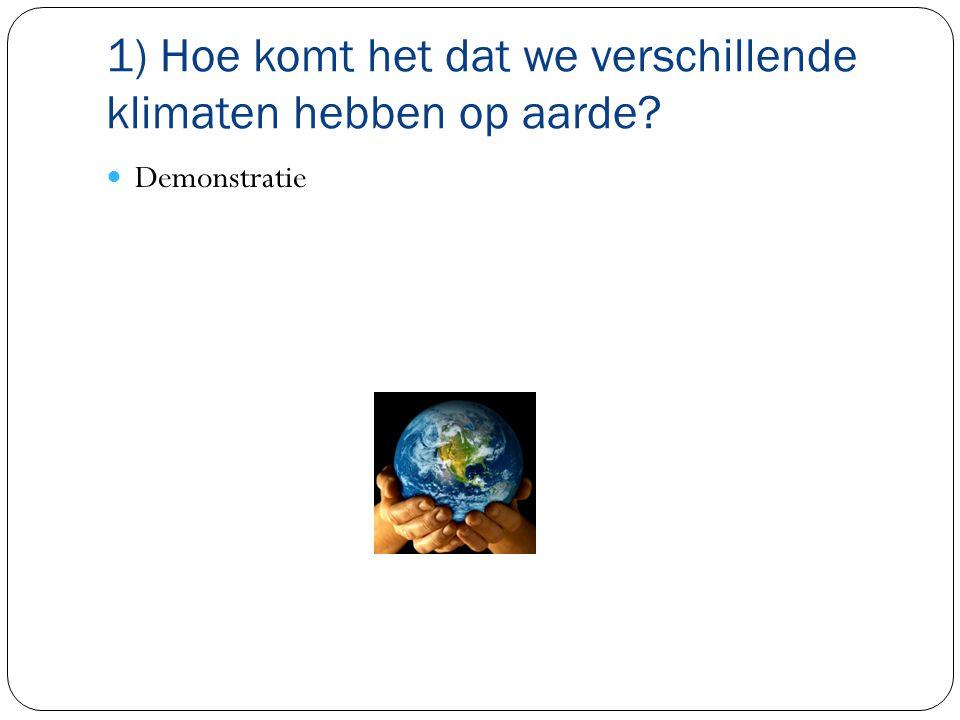 1) Hoe komt het dat we verschillende klimaten hebben op aarde