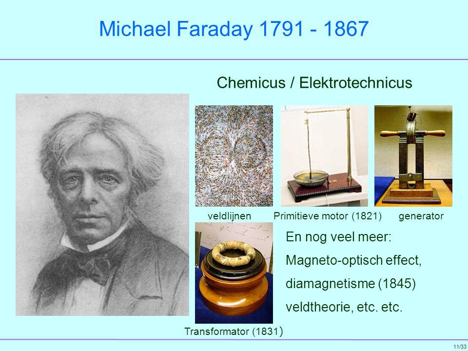 Michael Faraday 1791 - 1867 Chemicus / Elektrotechnicus