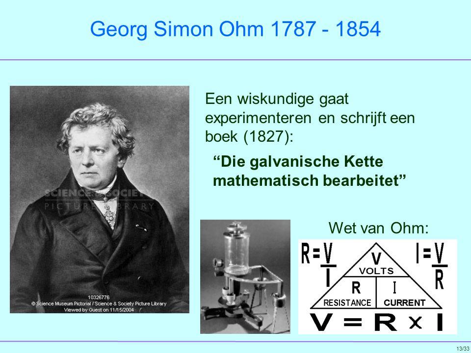 Georg Simon Ohm 1787 - 1854 Een wiskundige gaat experimenteren en schrijft een boek (1827):