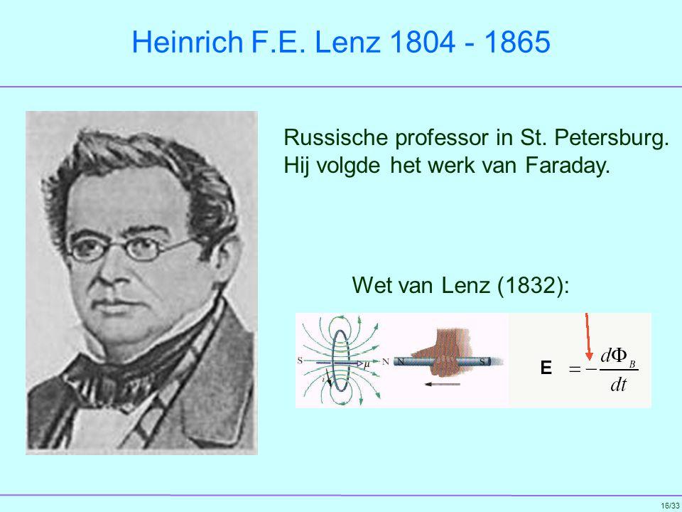 Heinrich F.E. Lenz 1804 - 1865 Russische professor in St. Petersburg. Hij volgde het werk van Faraday.