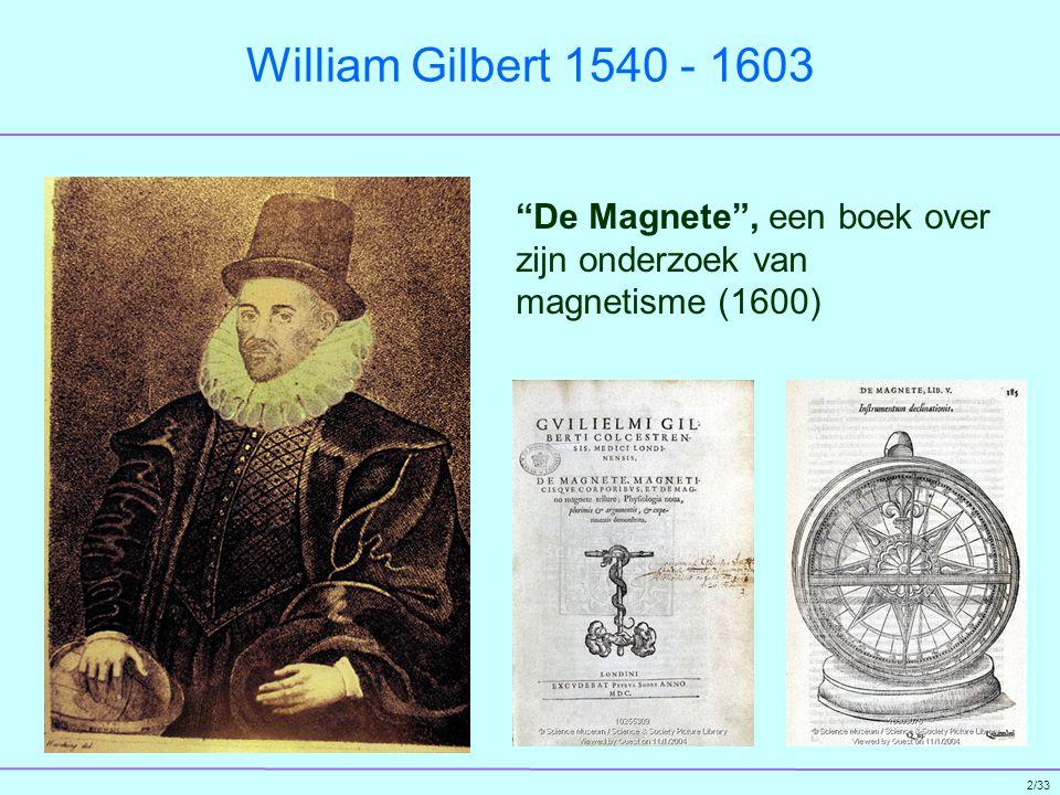 William Gilbert 1540 - 1603 De Magnete , een boek over zijn onderzoek van magnetisme (1600)