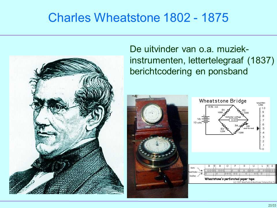 Charles Wheatstone 1802 - 1875 De uitvinder van o.a.