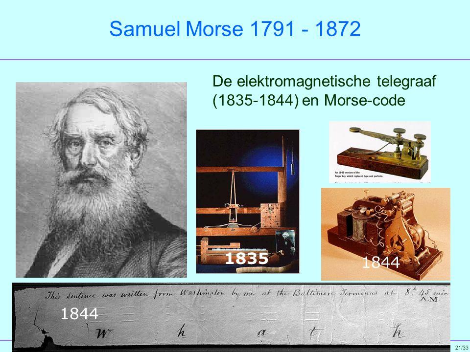 Samuel Morse 1791 - 1872 De elektromagnetische telegraaf (1835-1844) en Morse-code 1835 1844 1844