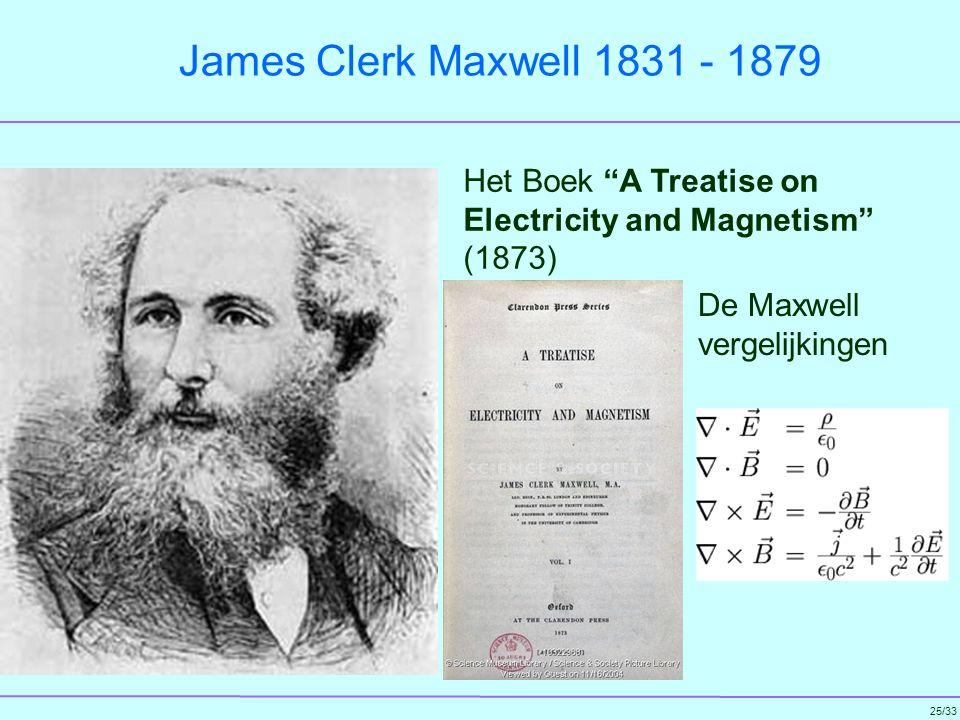 James Clerk Maxwell 1831 - 1879 Het Boek A Treatise on Electricity and Magnetism (1873) De Maxwell vergelijkingen.