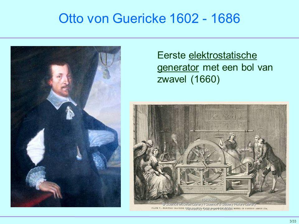 Otto von Guericke 1602 - 1686 Eerste elektrostatische generator met een bol van zwavel (1660)