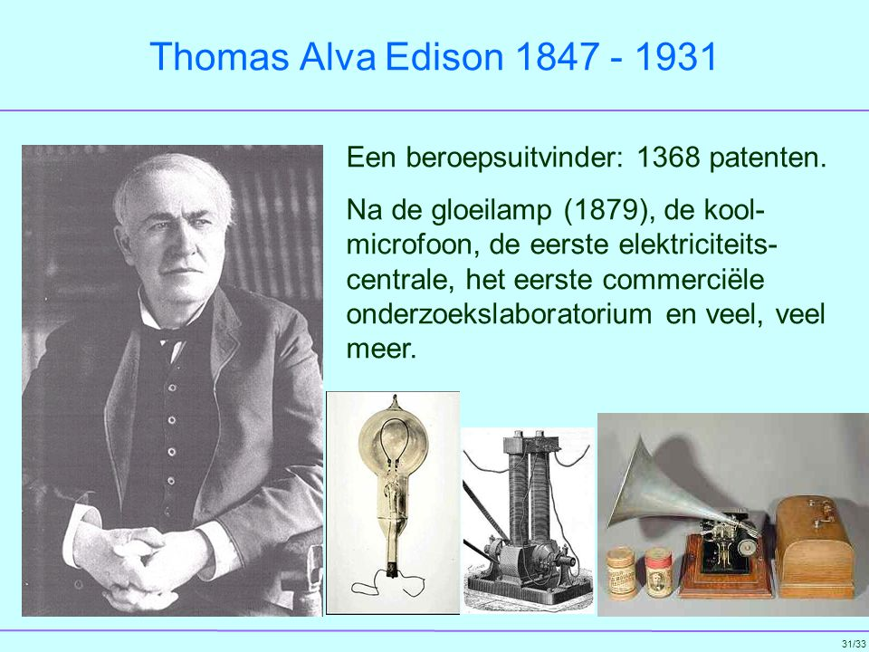 Thomas Alva Edison 1847 - 1931 Een beroepsuitvinder: 1368 patenten.