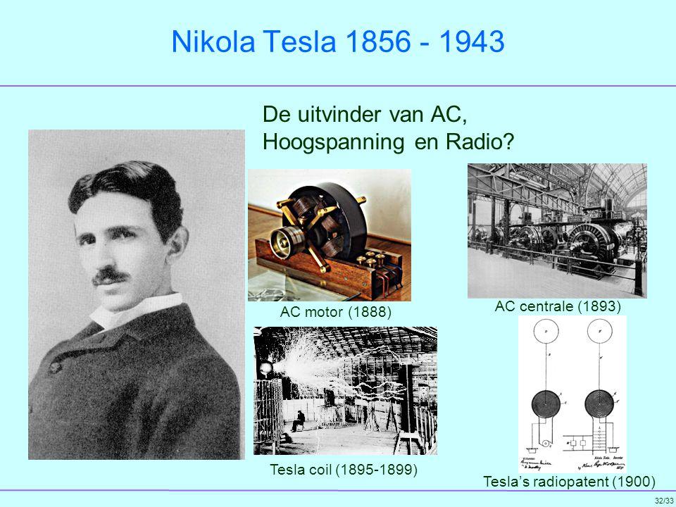 Nikola Tesla 1856 - 1943 De uitvinder van AC, Hoogspanning en Radio