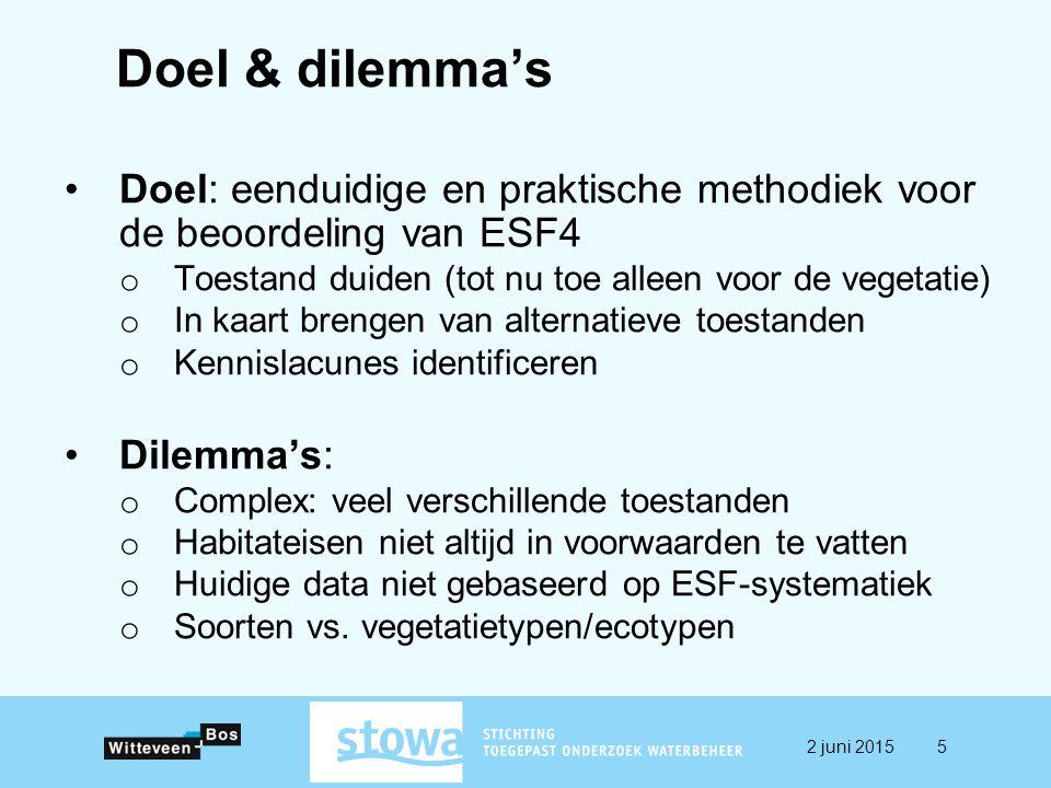 Doel & dilemma's Doel: eenduidige en praktische methodiek voor de beoordeling van ESF4. Toestand duiden (tot nu toe alleen voor de vegetatie)