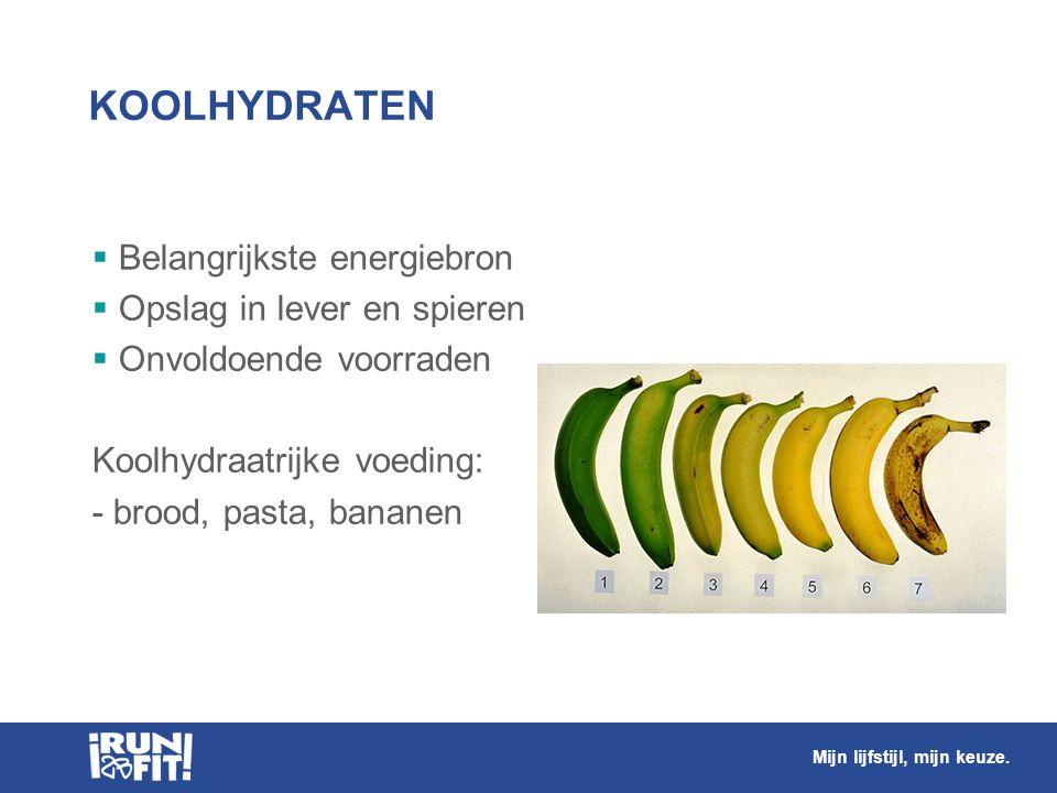 KOOLHYDRATEN Belangrijkste energiebron Opslag in lever en spieren