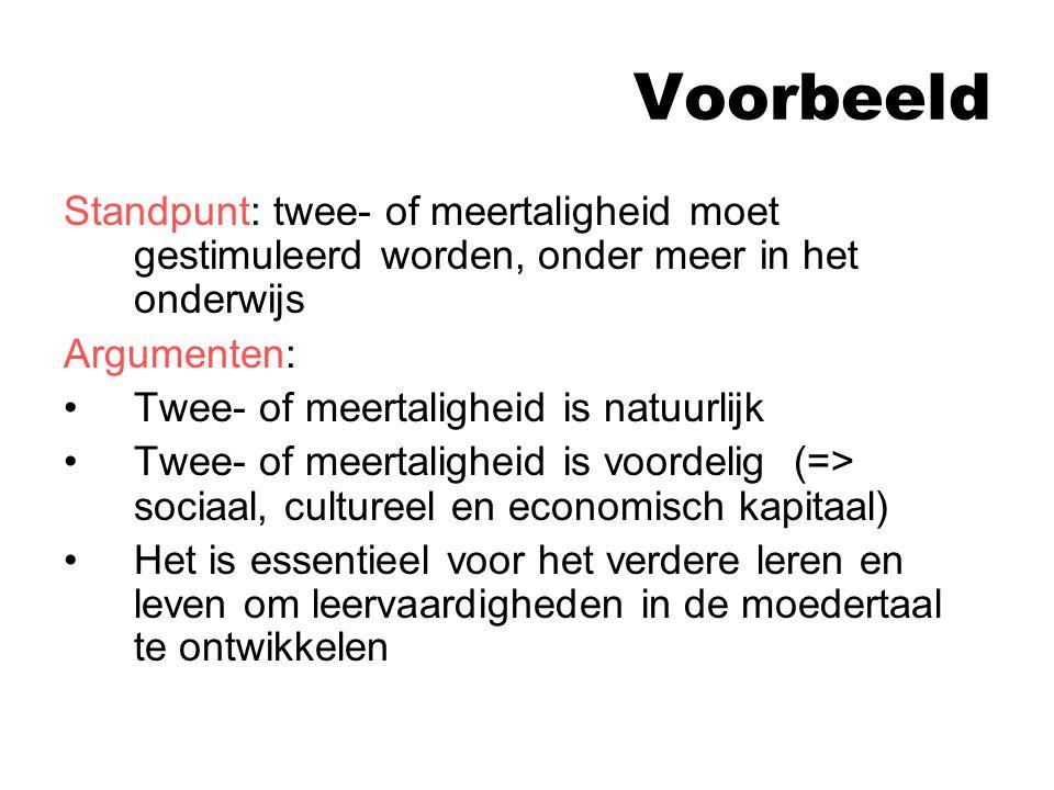 Voorbeeld Standpunt: twee- of meertaligheid moet gestimuleerd worden, onder meer in het onderwijs. Argumenten: