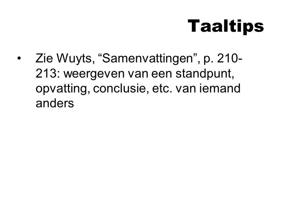 Taaltips Zie Wuyts, Samenvattingen , p.