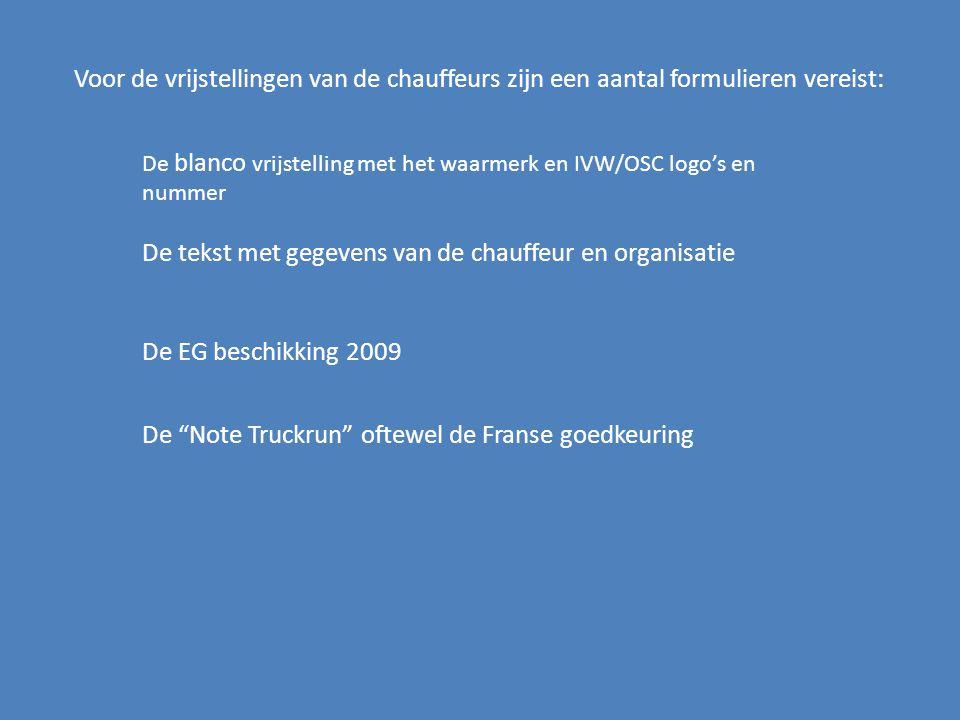 De tekst met gegevens van de chauffeur en organisatie