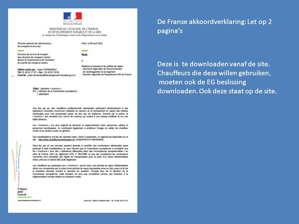 De Franse akkoordverklaring: Let op 2 pagina's
