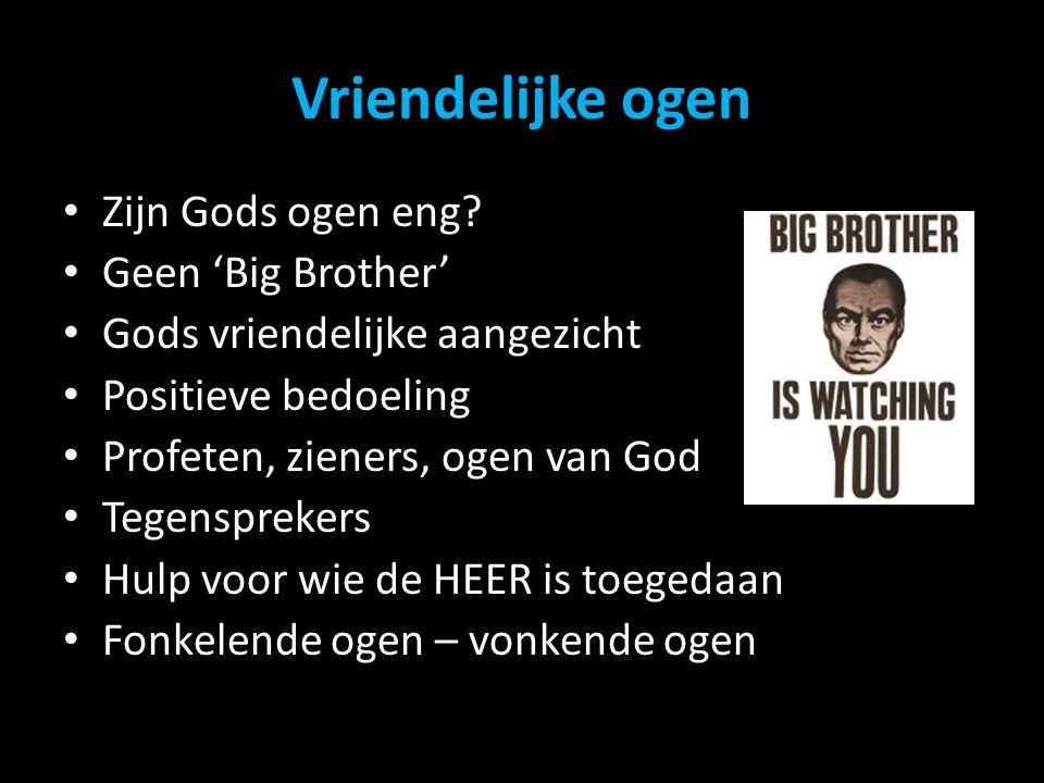 Vriendelijke ogen Zijn Gods ogen eng Geen 'Big Brother'