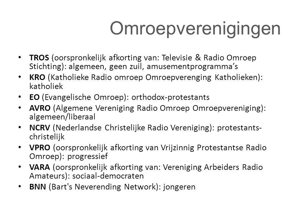 Omroepverenigingen TROS (oorspronkelijk afkorting van: Televisie & Radio Omroep Stichting): algemeen, geen zuil, amusementprogramma's.