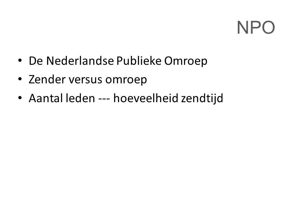 NPO De Nederlandse Publieke Omroep Zender versus omroep