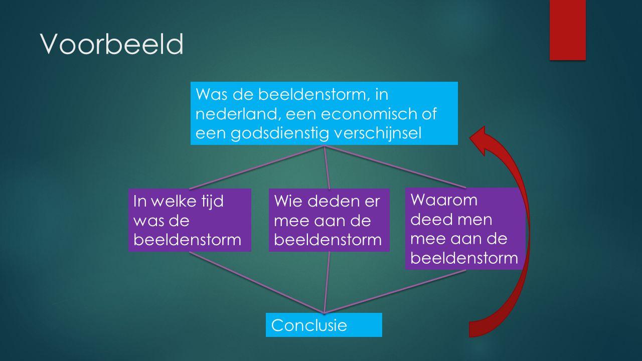 Voorbeeld Was de beeldenstorm, in nederland, een economisch of een godsdienstig verschijnsel. In welke tijd was de beeldenstorm.