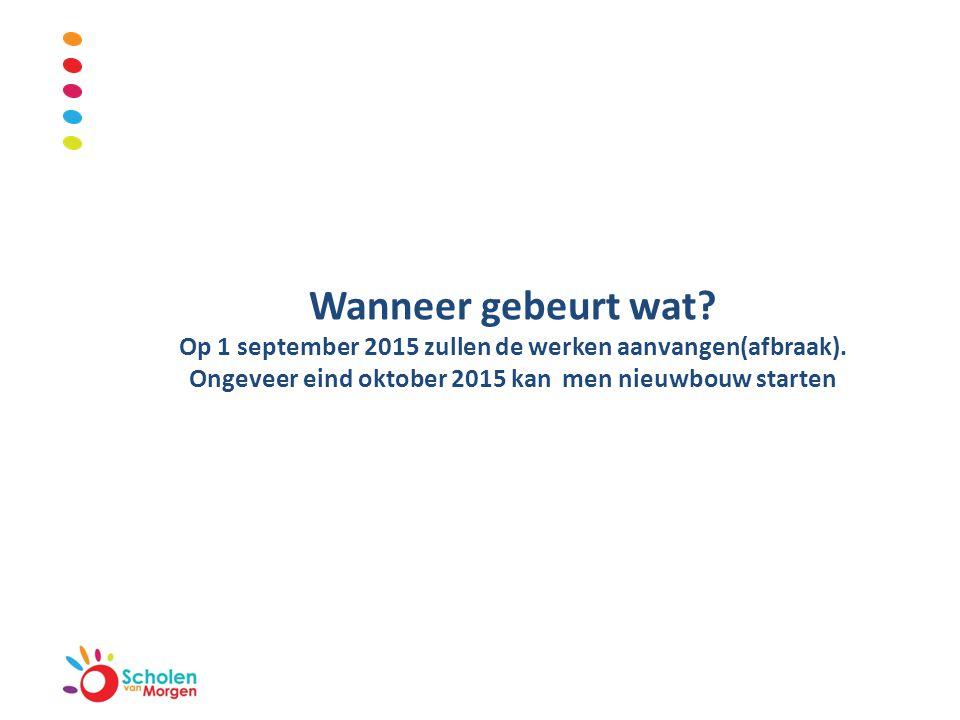 Wanneer gebeurt wat. Op 1 september 2015 zullen de werken aanvangen(afbraak).