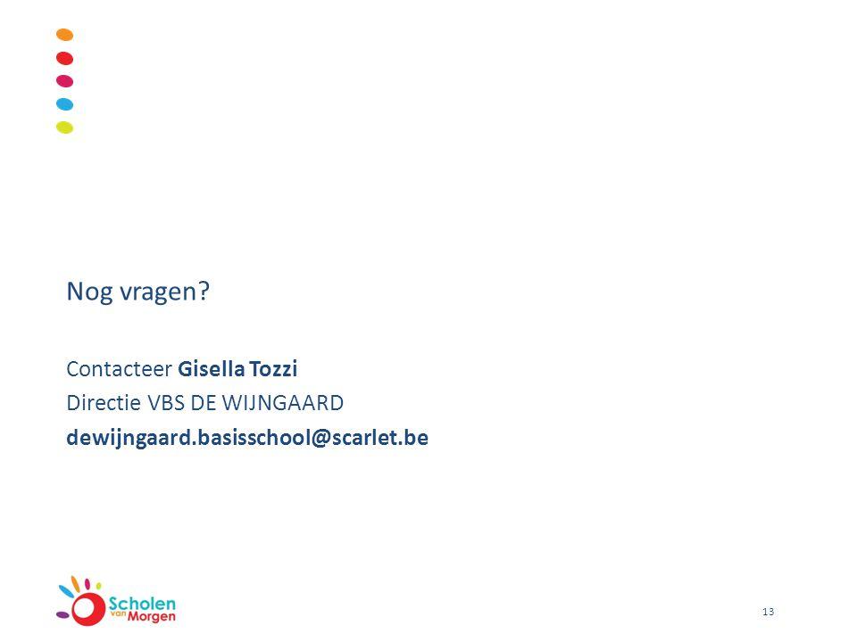 Nog vragen Contacteer Gisella Tozzi Directie VBS DE WIJNGAARD