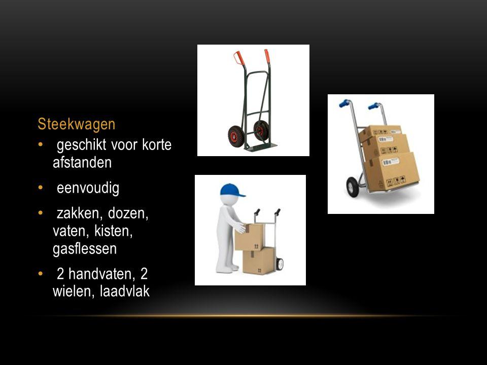Steekwagen geschikt voor korte afstanden. eenvoudig. zakken, dozen, vaten, kisten, gasflessen.
