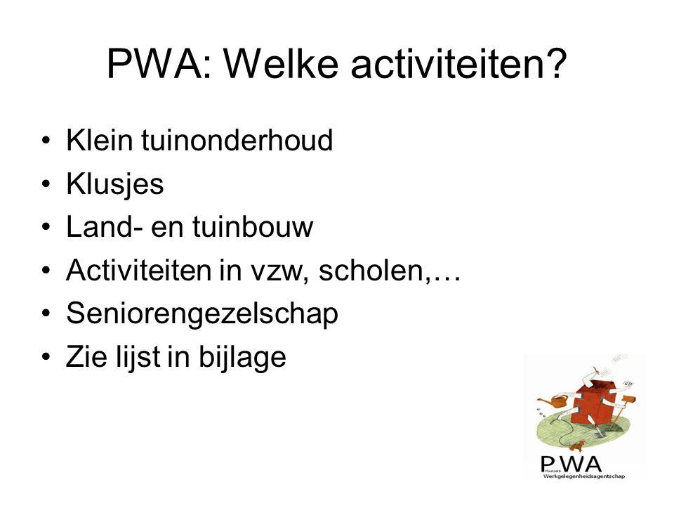 PWA: Welke activiteiten
