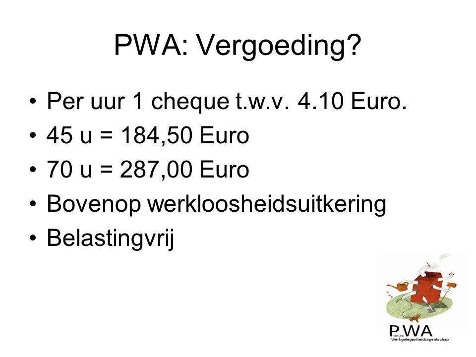 PWA: Vergoeding Per uur 1 cheque t.w.v. 4.10 Euro. 45 u = 184,50 Euro