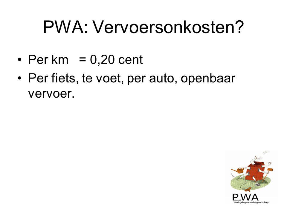 PWA: Vervoersonkosten