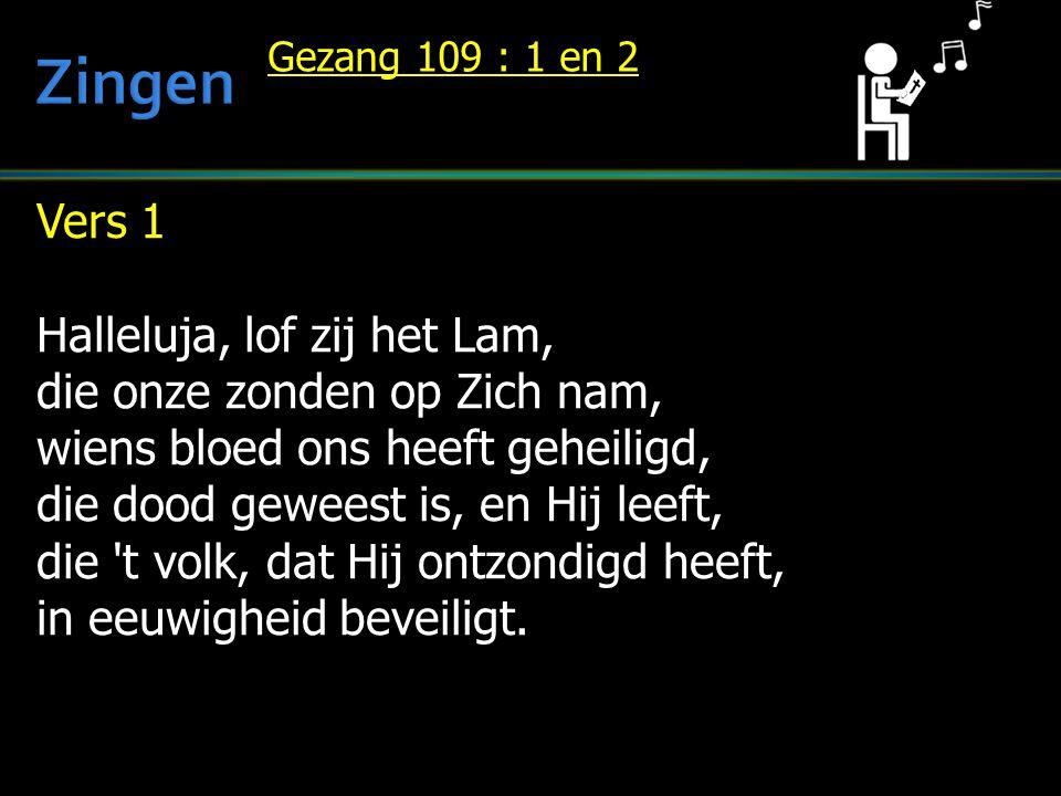 Zingen Vers 1 Halleluja, lof zij het Lam, die onze zonden op Zich nam,
