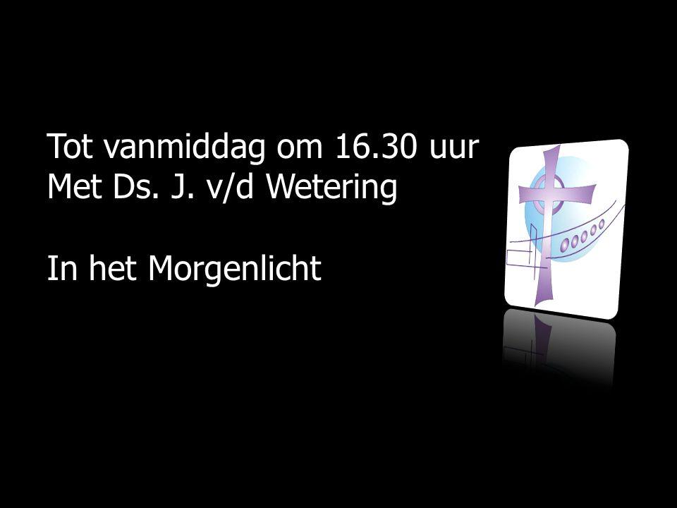 Tot vanmiddag om 16.30 uur Met Ds. J. v/d Wetering In het Morgenlicht
