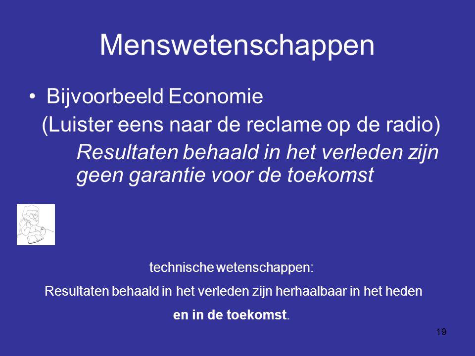 Menswetenschappen Bijvoorbeeld Economie