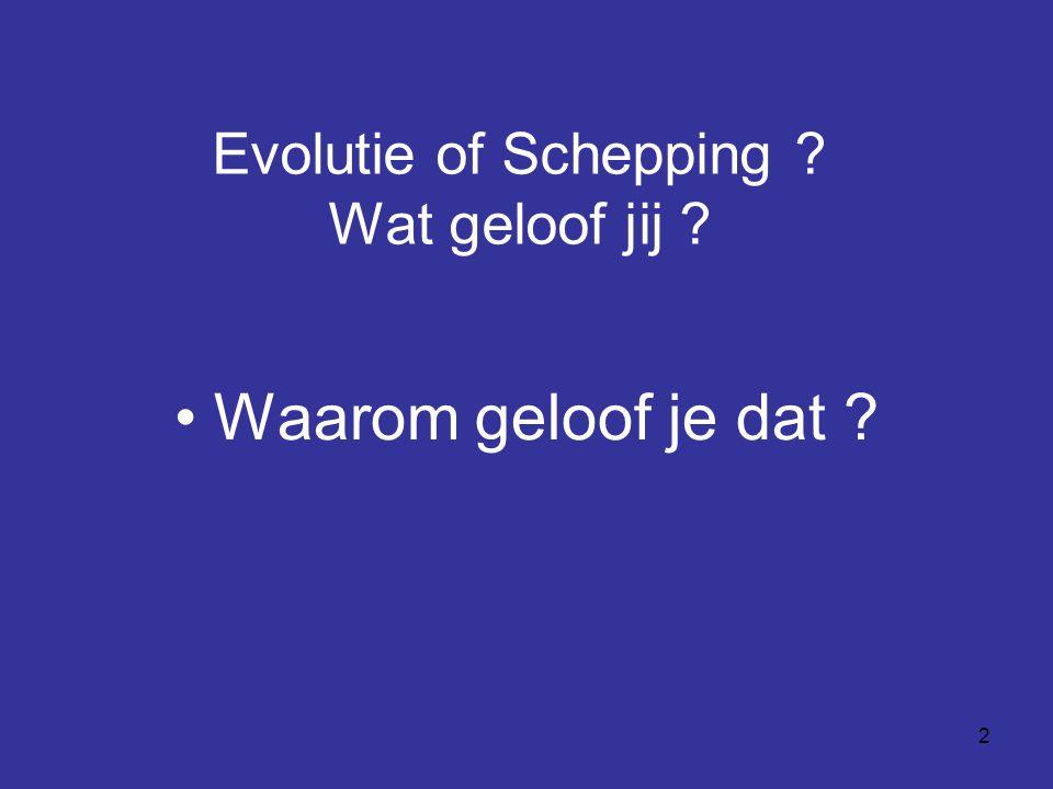 Evolutie of Schepping Wat geloof jij