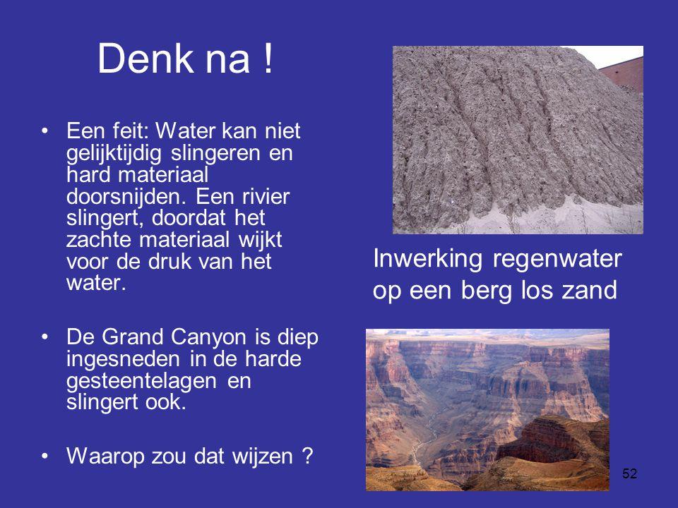 Denk na ! Inwerking regenwater op een berg los zand