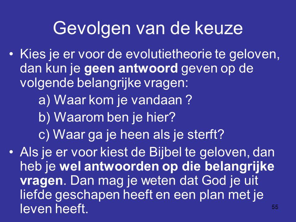 Gevolgen van de keuze Kies je er voor de evolutietheorie te geloven, dan kun je geen antwoord geven op de volgende belangrijke vragen: