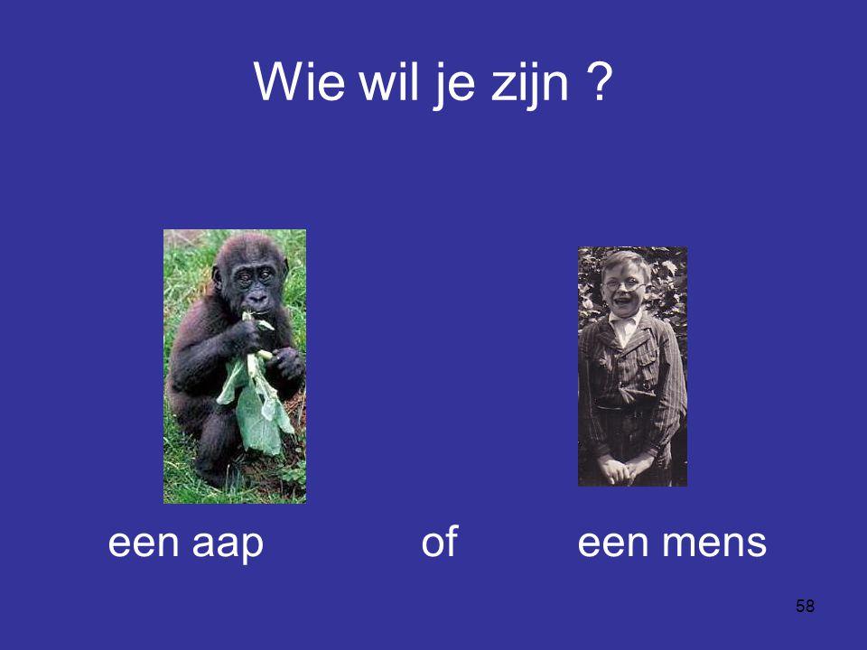 Wie wil je zijn een aap of een mens