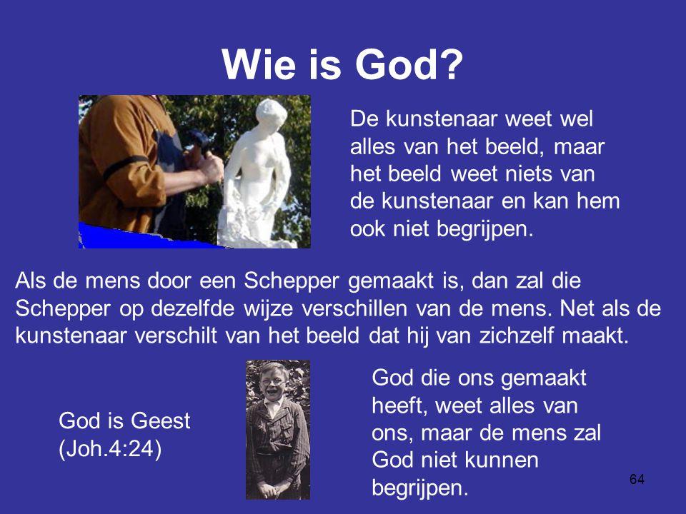 Wie is God De kunstenaar weet wel alles van het beeld, maar het beeld weet niets van de kunstenaar en kan hem ook niet begrijpen.