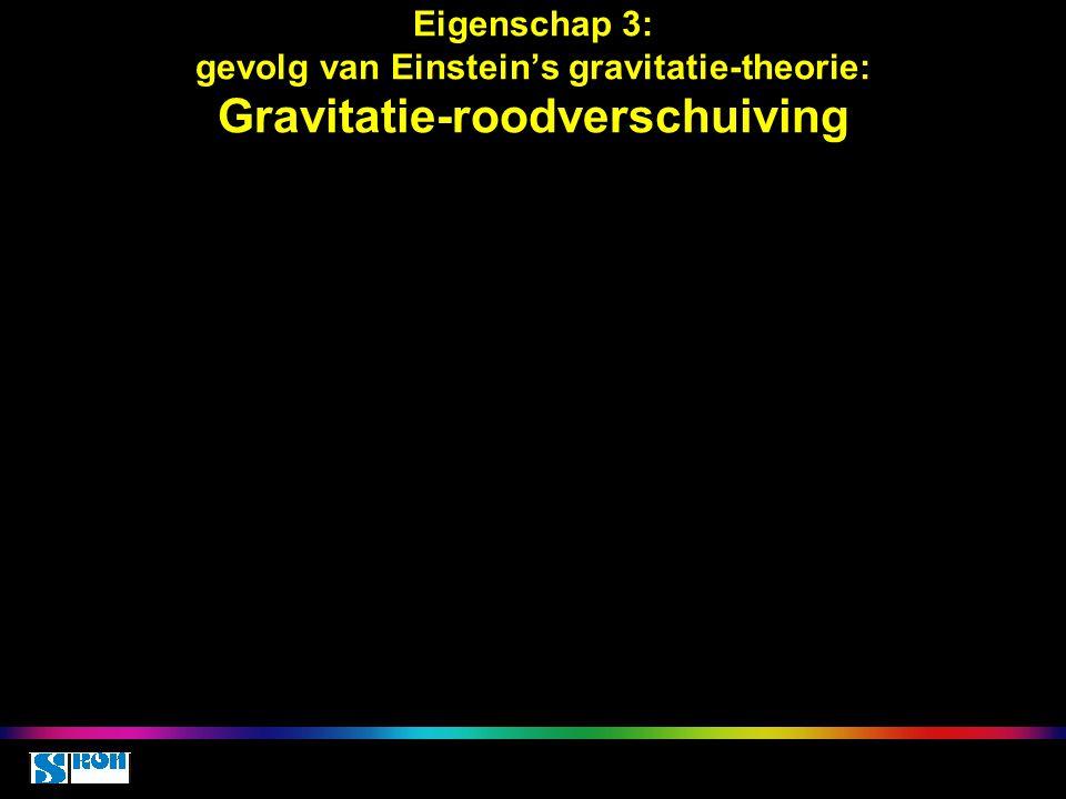 Eigenschap 3: gevolg van Einstein's gravitatie-theorie: Gravitatie-roodverschuiving