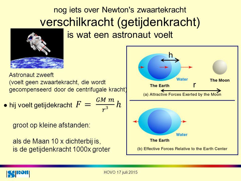 nog iets over Newton s zwaartekracht verschilkracht (getijdenkracht) is wat een astronaut voelt