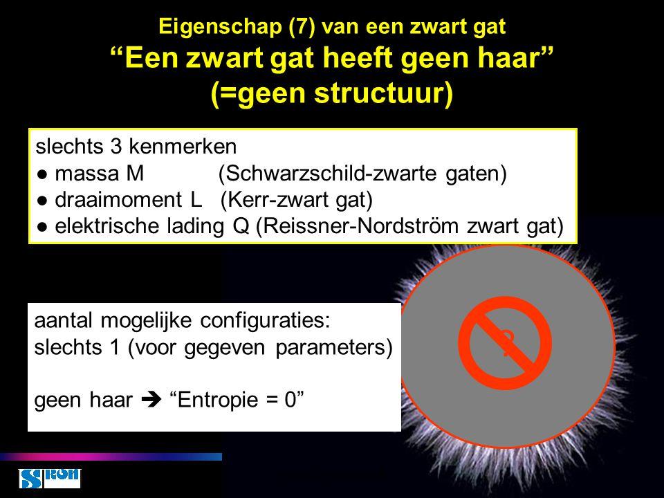 Eigenschap (7) van een zwart gat Een zwart gat heeft geen haar (=geen structuur)