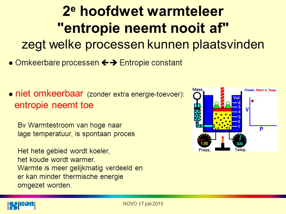 2e hoofdwet warmteleer entropie neemt nooit af zegt welke processen kunnen plaatsvinden