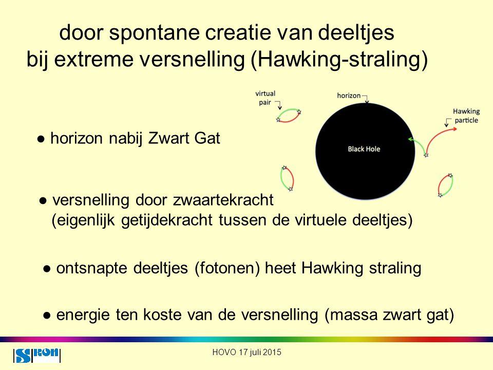 door spontane creatie van deeltjes bij extreme versnelling (Hawking-straling)