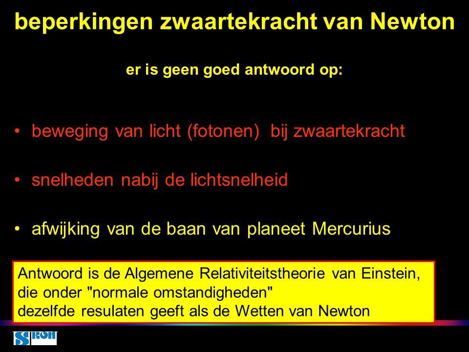 beperkingen zwaartekracht van Newton er is geen goed antwoord op: