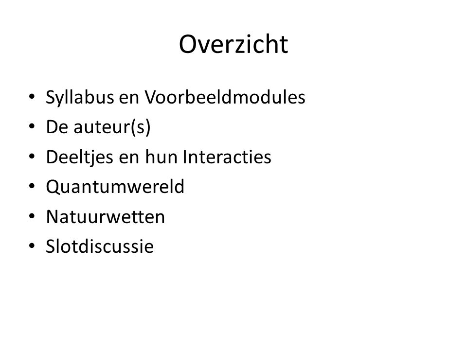 Overzicht Syllabus en Voorbeeldmodules De auteur(s)