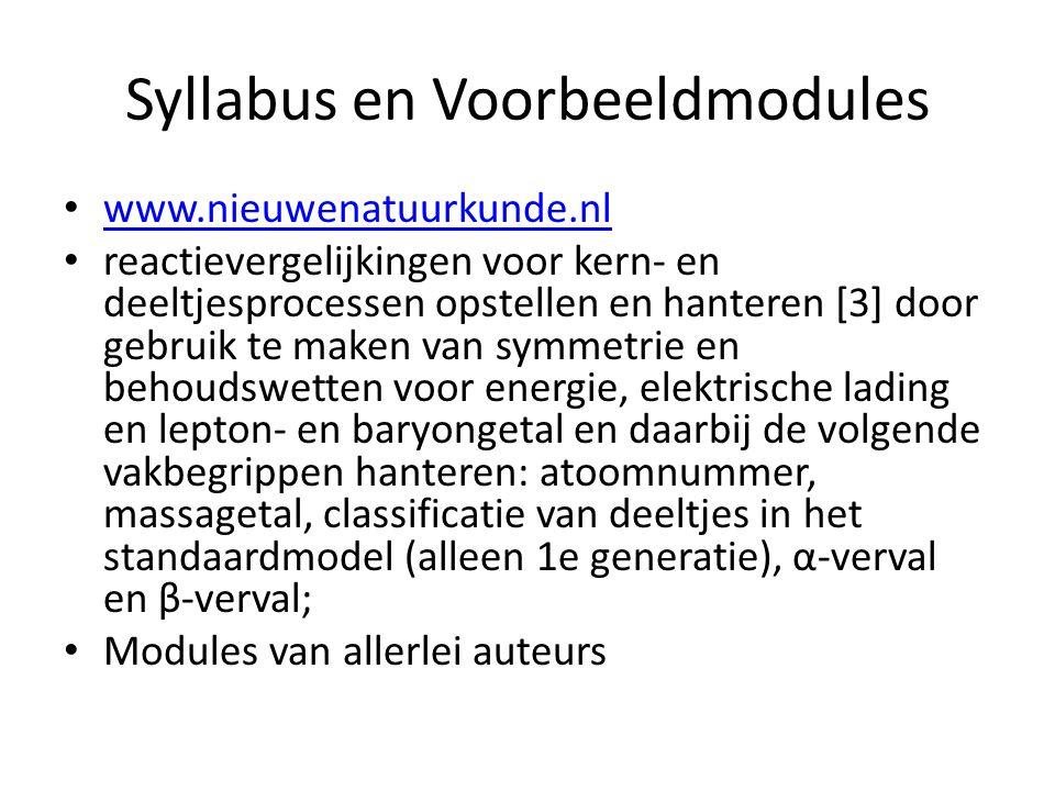 Syllabus en Voorbeeldmodules
