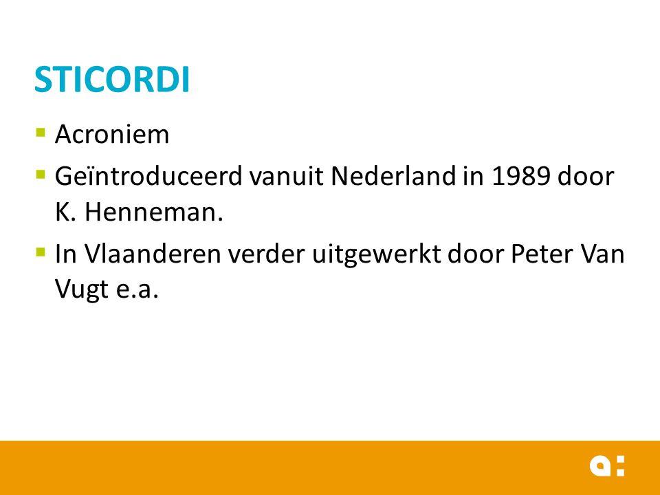 STICORDI Acroniem. Geïntroduceerd vanuit Nederland in 1989 door K.