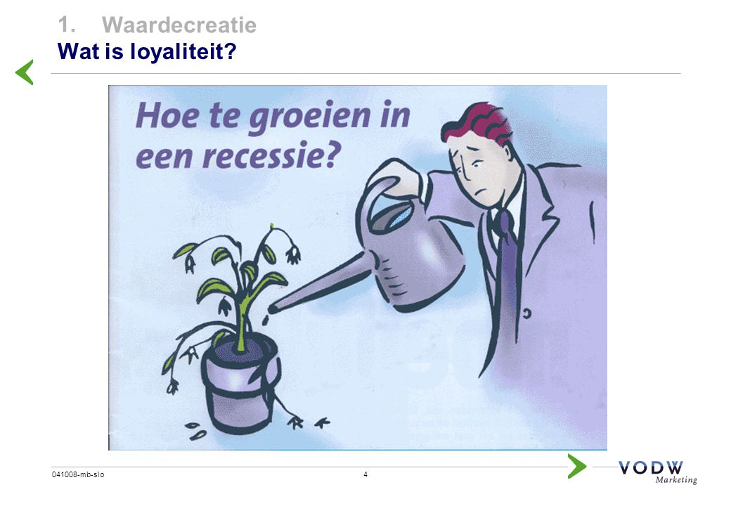 1. Waardecreatie Wat is loyaliteit